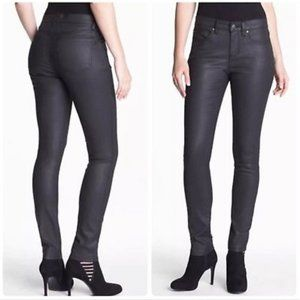 Eileen Fisher Coated Skinny Jeans Size 6 Black